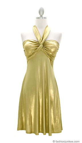 :As Seen in US WEEKLY: GLAM Metallic Halter Sweetheart Mini Dress-Gold