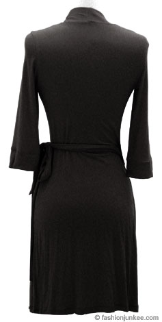 Jersey Mini NICKY 3/4 Sleeve Ruched True Wrap Dress, Side Tie-Black :  tie black sleeves wrap