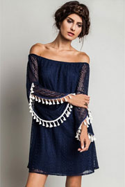 Boho Off the Shoulder Lace Dress-Navy Blue