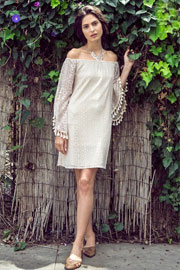 Boho Off the Shoulder Lace Dress-Off White