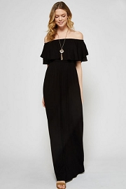 Off the Shoulder Flowy Solid Jersey Long Maxi Dress-Black