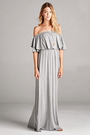 Off the Shoulder Flowy Solid Jersey Long Maxi Dress-Heather Grey