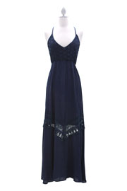 Bohemian Hippie Open Back Maxi Full Length Dress-Navy Blue