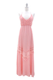 Bohemian Hippie Open Back Maxi Full Length Dress-Pink
