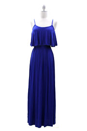 Jersey Overlay Flowy Long Maxi Dress with Open Back-Blue