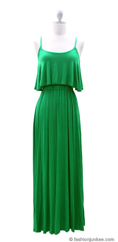 Jersey Overlay Flowy Long Maxi Dress With Open Back Green