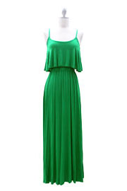Jersey Overlay Flowy Long Maxi Dress with Open Back-Green