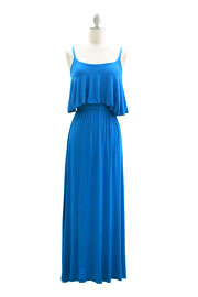 Jersey Overlay Flowy Long Maxi Dress with Open Back-Turquoise Blue