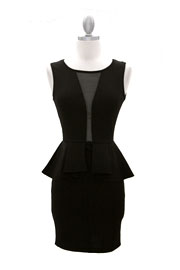 Peplum Plunge Mesh Sexy Dress with Backless Mesh Open Back-Black