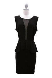 Plus Size Peplum Plunge Mesh Sexy Dress-Black