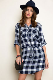 Plaid Drawstring Shirt Dress-Navy Blue & White