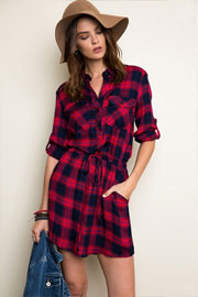 Plaid Drawstring Shirt Dress-Red