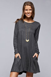 Long Sleeve Jersey A-Line Tunic Dress with Pockets-Grey