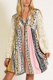 Hippie Boho Printed Dress with Lace Bell Sleeves-Mustard