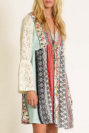 Hippie Boho Printed Dress with Lace Bell Sleeves-Orange