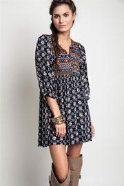 Bohemian Printed Baby Doll Tunic Shirt Dress-Navy Blue