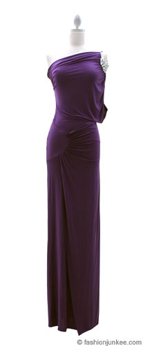 Rhinestone One Shoulder Full Length Long Evening Dress-Purple