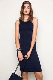 Sleeveless Racerback Ribbed Tank Dress-Navy Blue