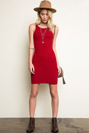 Sleeveless Racerback Ribbed Tank Dress-Red