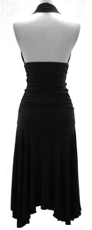Ruched Calf Length Halter Cocktail Dress-Black :  black gathered marilyn cocktail