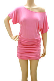Ruched Jersey Short Sleeve Banded Off the Shoulder Mini Dress-Pink
