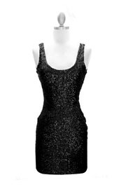 Sexy Fully Sequined Backless Mini Dress-Black