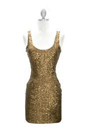 :As Seen In US WEEKLY: Sexy Fully Sequined Backless Mini Dress-Bronze Gold