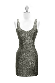 :As Seen In US WEEKLY: Sexy Fully Sequined Backless Mini Dress-Gunmetal Silver