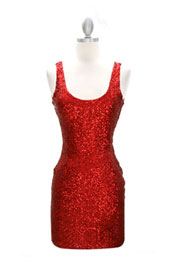Sexy Fully Sequined Backless Mini Dress-Red