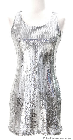 Sleeveless Sequin Mini Cocktail Evening Dress-Silver
