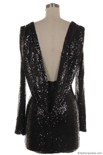 Sequin Backless Draped Open Back Long Sleeve Mini Dress Black