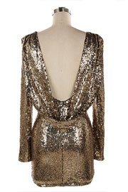 FLASH SALE: Sequin Backless Draped Open Back Long Sleeve Mini Dress-Gold