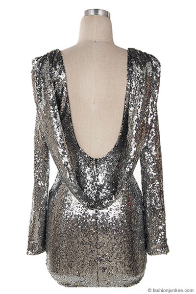 Sequin Backless Draped Open Back Long Sleeve Mini Dress Silver