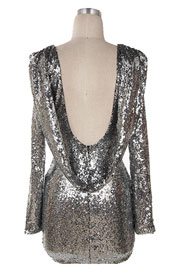 Sequin Backless Draped Open Back Long Sleeve Mini Dress-Silver