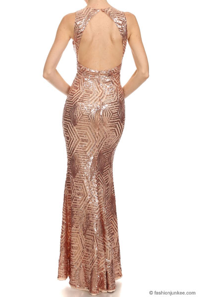 PLUS SIZE Long Full Length Sequin Mermaid Dress with Plunging ...