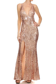 FLASH SALE: PLUS SIZE Long Full Length Sequin Mermaid Valentine's Day Dress with Plunging Neckline-Blush