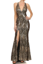 FLASH SALE: PLUS SIZE Long Full Length Sequin Mermaid Valentine's Day Dress with Plunging Neckline-Gold Black