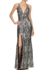 Long Full Length Sequin Mermaid Dress with Plunging Neckline-Silver Black