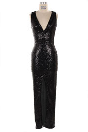 Sequin Long Full Length Low Cut V-Neck Split Front Cocktail Dress-Black