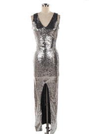 Sequin Long Full Length Low Cut V-Neck Split Front Cocktail Dress-Silver