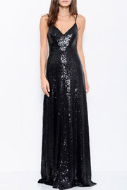 Backless Open Back Sequin Full length Maxi Dress-Black