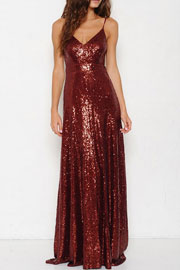 Backless Open Back Sequin Full length Maxi Dress-Burgundy Dark Red