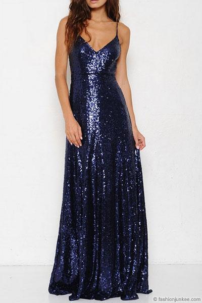 Backless Open Back Sequin Full Length Maxi Dress Navy Blue