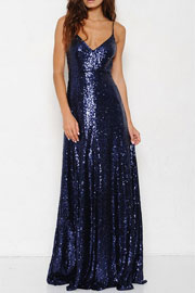 Backless Open Back Sequin Full length Maxi Dress-Navy Blue