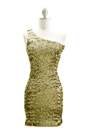 Sexy Fully Sequined One Shoulder Mini Dress-Gold