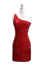 Sexy Fully Sequined One Shoulder Mini Dress-Red