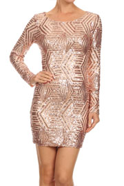 Pattern Sequin Long Sleeve Open Back Mini Dress-Blush