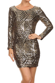 Pattern Sequin Long Sleeve Open Back Mini Dress-Gold & Black
