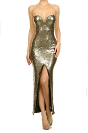 Sequin Sweetheart Plunge Low Cut Long Cocktail Dress with Slit Front-Gold