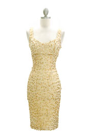 Knee Length Sleeveless Sequin V-Neck Dress-Gold